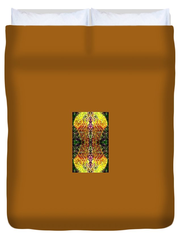 Mirror Duvet Cover featuring the digital art Mirrored Inferno by Michael African Visions