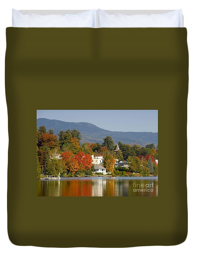 Adirondack Mountains Duvet Cover featuring the photograph Mirror Lake by David Lee Thompson