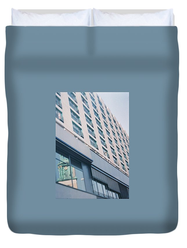Mirrored Duvet Cover featuring the photograph Mirrored Berlin by Nacho Vega