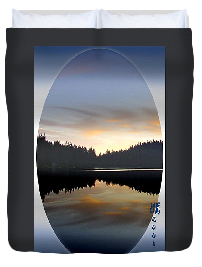 Lake Duvet Cover featuring the mixed media Mirrored Lake by Shirley Heyn