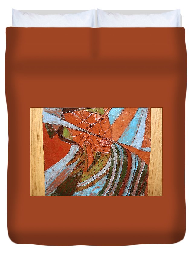 Jesus Duvet Cover featuring the ceramic art Mirrors - Tile by Gloria Ssali