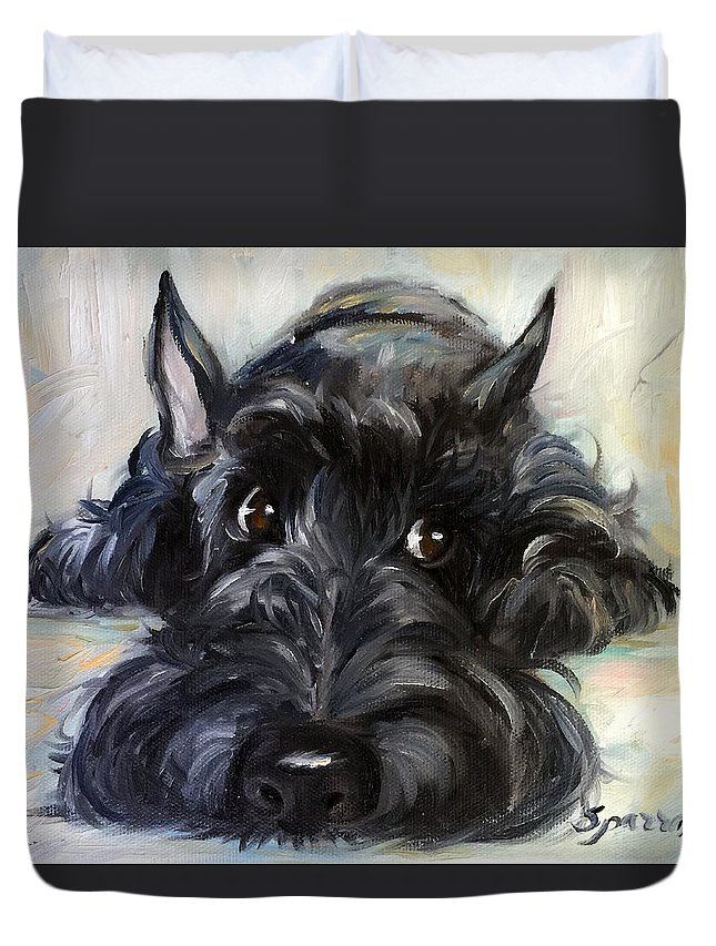 Scottie Duvet Cover featuring the painting Mischief by Mary Sparrow