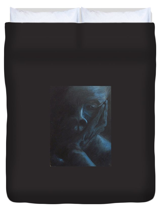 Sad Duvet Cover featuring the painting Misery by Gale Cochran-Smith