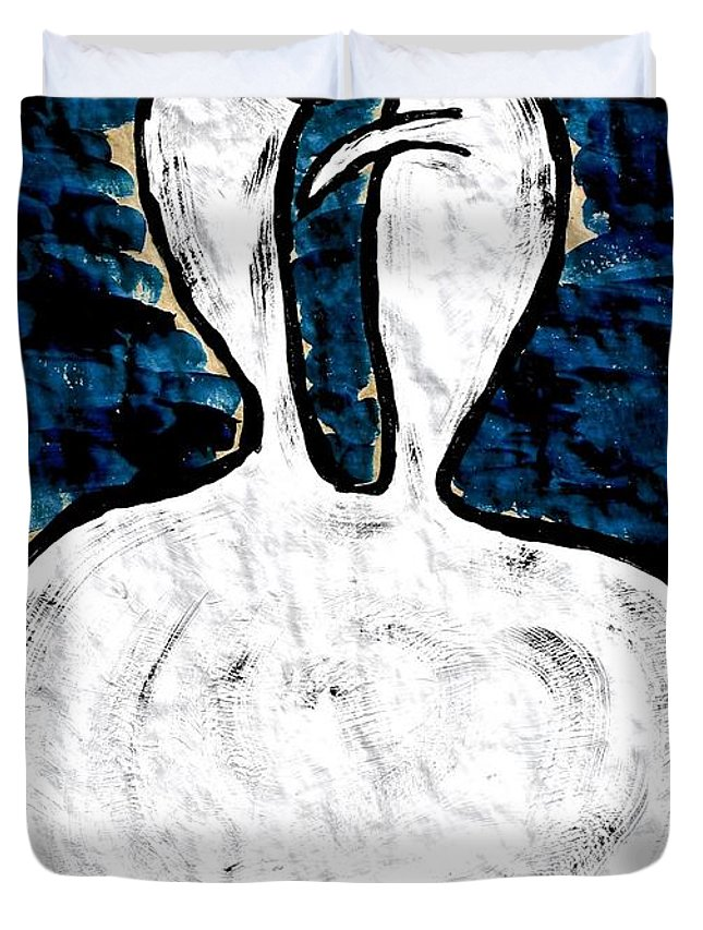 Devils Duvet Cover featuring the painting Misery Loves Company by Mario MJ Perron