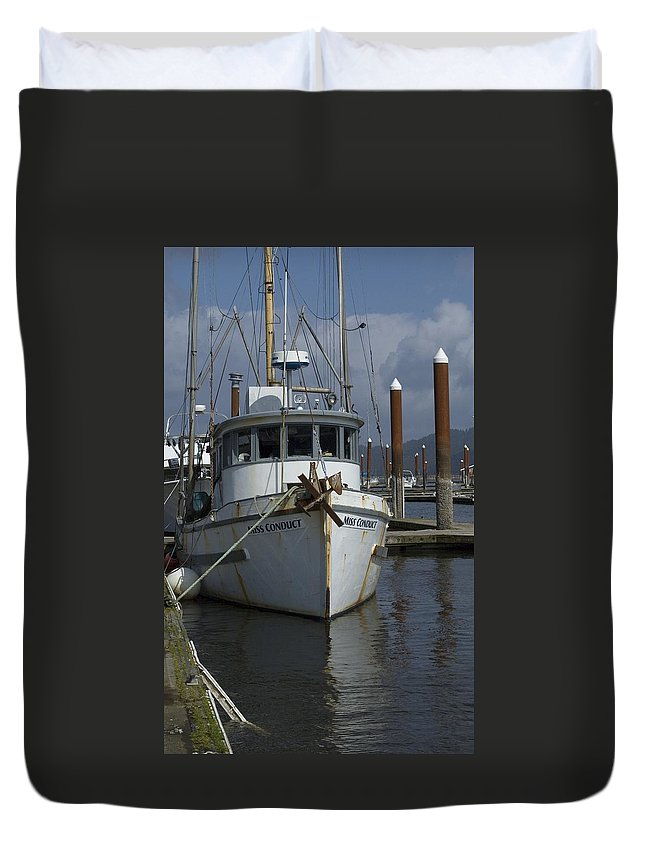 Fishing Boat Duvet Cover featuring the photograph Miss Conduct by Sara Stevenson