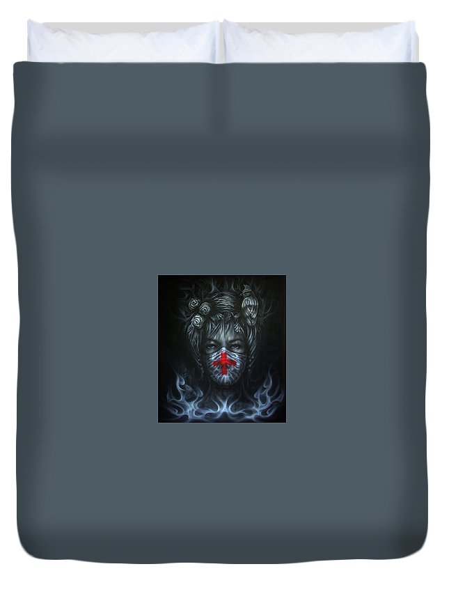 Miss Earth Duvet Cover featuring the painting Miss Earth by Jack No War