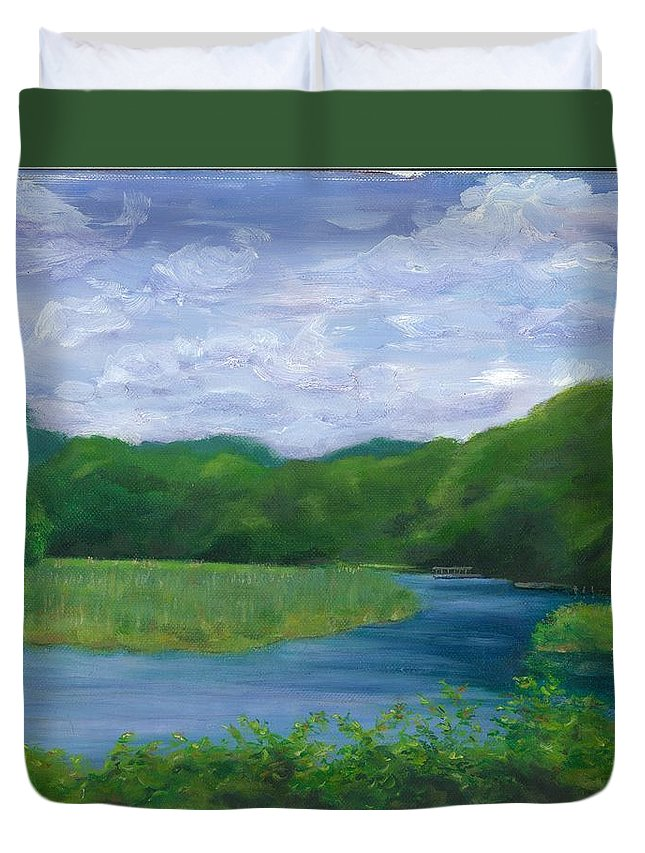 Landscape Duvet Cover featuring the painting Miss Florences Backyard by Paula Emery