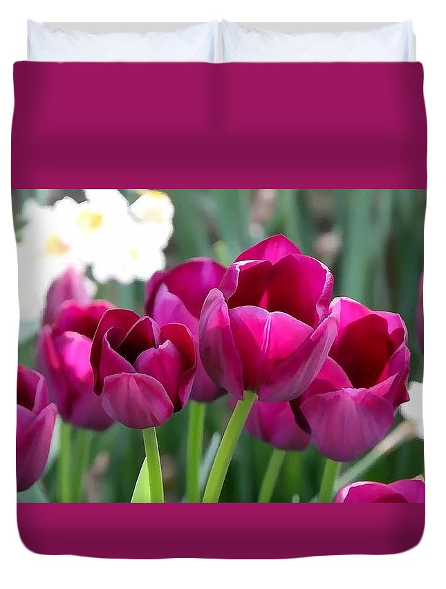 Miss Tulip Duvet Cover featuring the painting Miss Tulip by Jeelan Clark