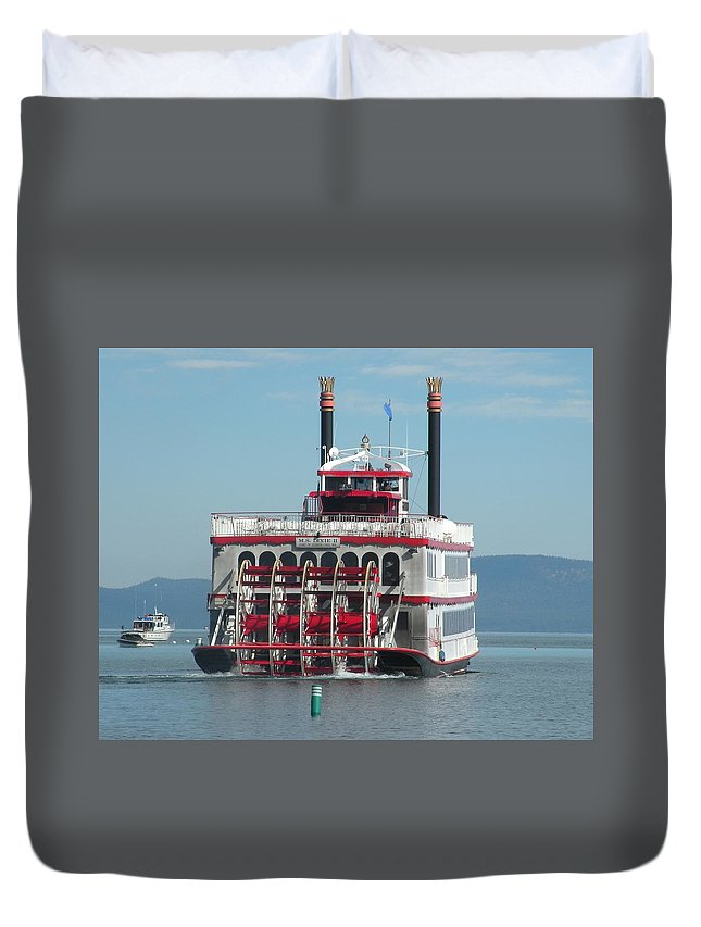 Paddle Wheel;lake Tahoe Duvet Cover featuring the photograph Missing The Boat by Peter Hennessey