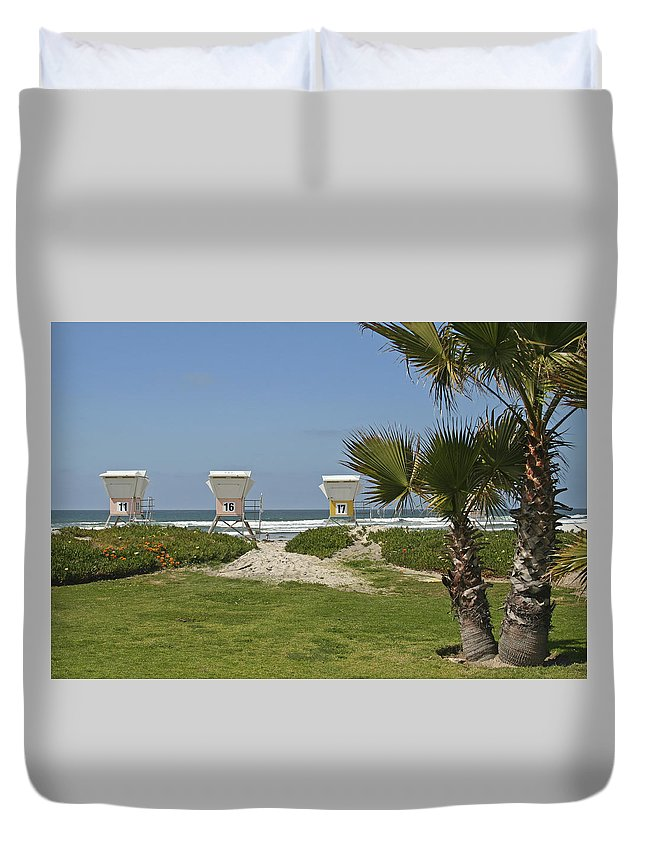Beach Duvet Cover featuring the photograph Mission Beach Shelters by Margie Wildblood