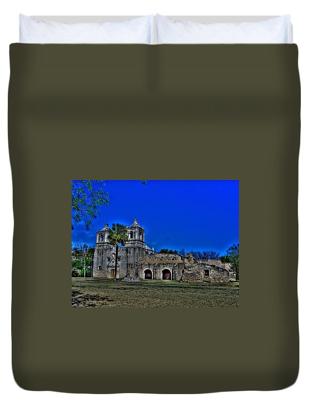 Missions Duvet Cover featuring the photograph Mission Concepcion by Rod Cuellar