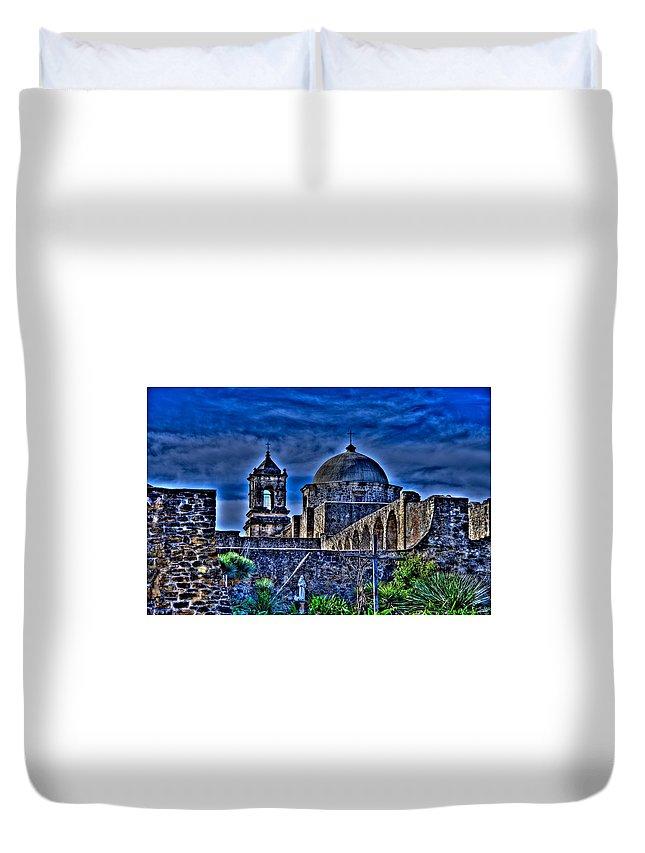San Antonio Duvet Cover featuring the photograph Mission San Jose San Antonio by Rod Cuellar