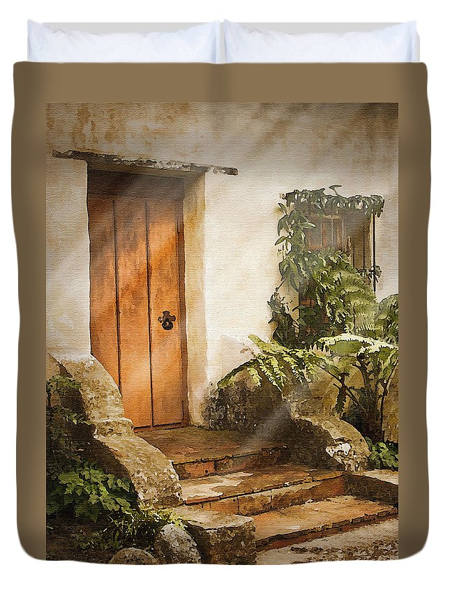 Mission Duvet Cover featuring the photograph Mission Door by Sharon Foster