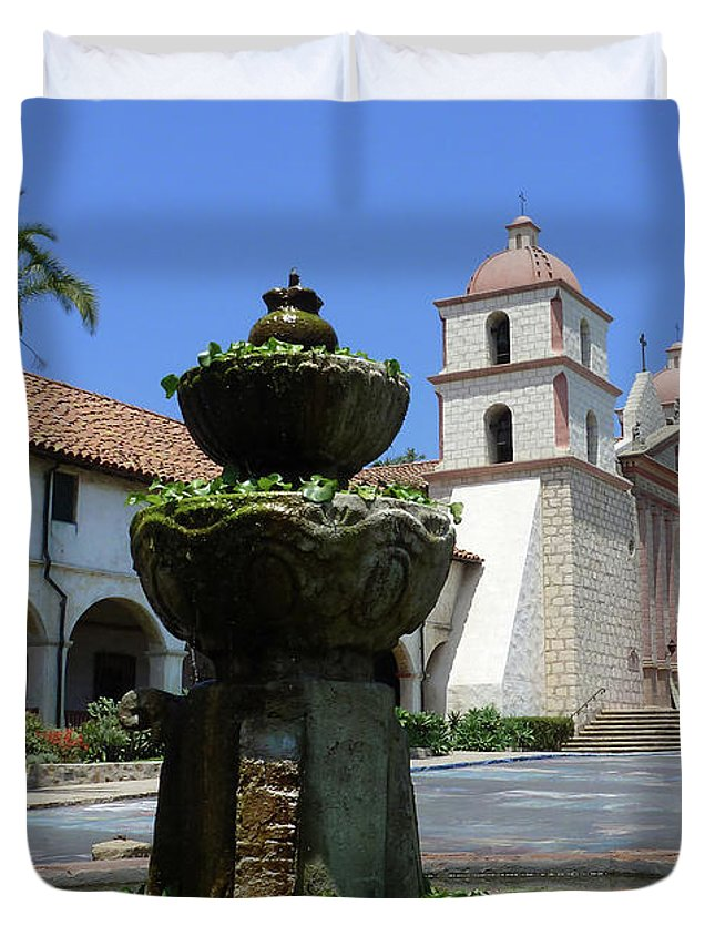 Mission Fountain Duvet Cover featuring the photograph Mission Fountain by Methune Hively