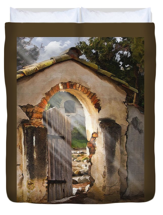 Architecture Duvet Cover featuring the photograph Mission Gate by Sharon Foster