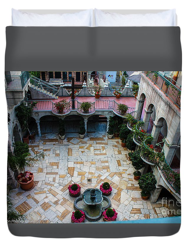 Mission Inn Duvet Cover featuring the photograph Mission Inn Chapel Court Yard by Tommy Anderson