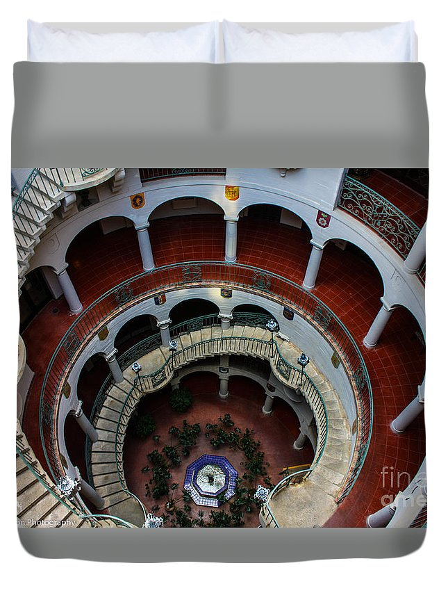Mission Inn Duvet Cover featuring the photograph Mission Inn Circular Stairway by Tommy Anderson