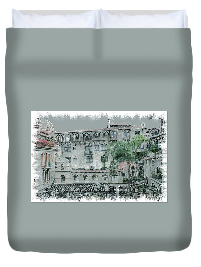 Mission Inn Duvet Cover featuring the digital art Mission Inn Court Yard by Tommy Anderson