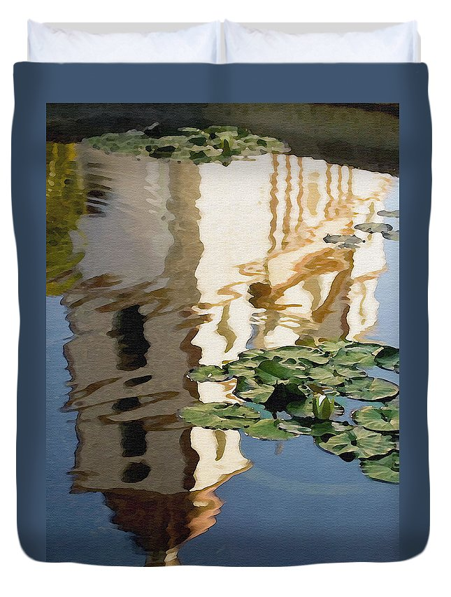 Reflection Duvet Cover featuring the digital art Mission Reflection by Sharon Foster