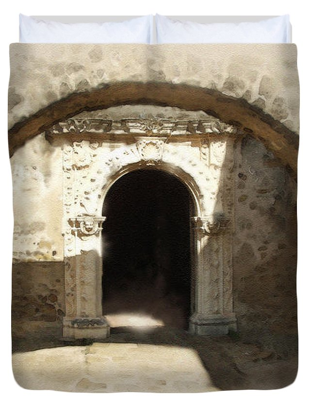 Digital Art Duvet Cover featuring the painting Mission San Jose Back Door by Cliff Hawley