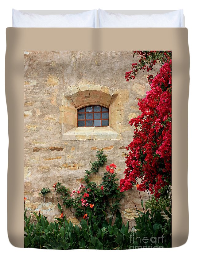 Window Duvet Cover featuring the photograph Mission Window by Carol Groenen