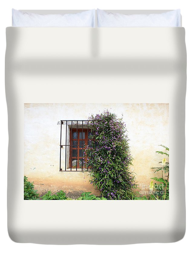 Purple Flowers Duvet Cover featuring the photograph Mission Window With Purple Flowers by Carol Groenen