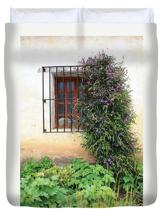 Mission Duvet Cover featuring the photograph Mission Window With Purple Flowers Vertical by Carol Groenen