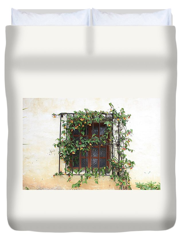 Window Duvet Cover featuring the photograph Mission Window With Yellow Flowers by Carol Groenen