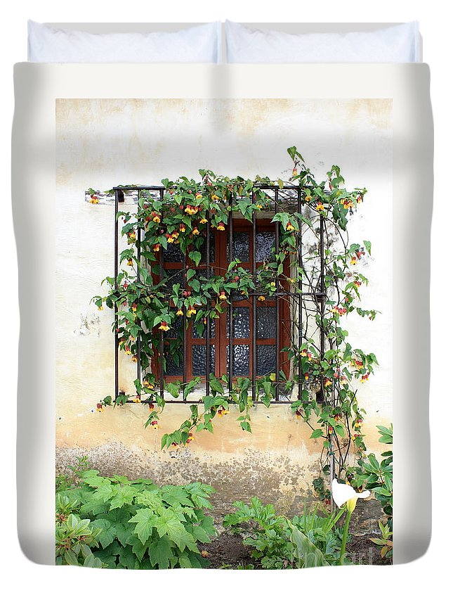 Mission Window Duvet Cover featuring the photograph Mission Window With Yellow Flowers Vertical by Carol Groenen