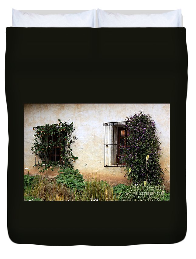 Vines Duvet Cover featuring the photograph Mission Windows by Carol Groenen