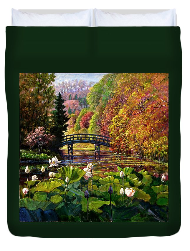 Landscape Duvet Cover featuring the painting Missouri Memories by John Lautermilch