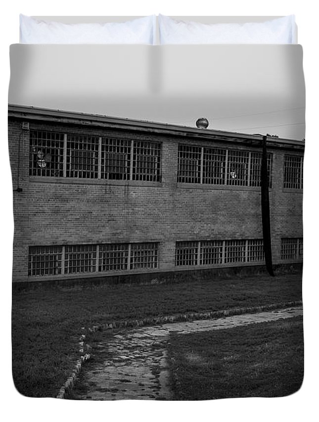 Black And White Duvet Cover featuring the photograph Missouri Prision by Matthew Comer
