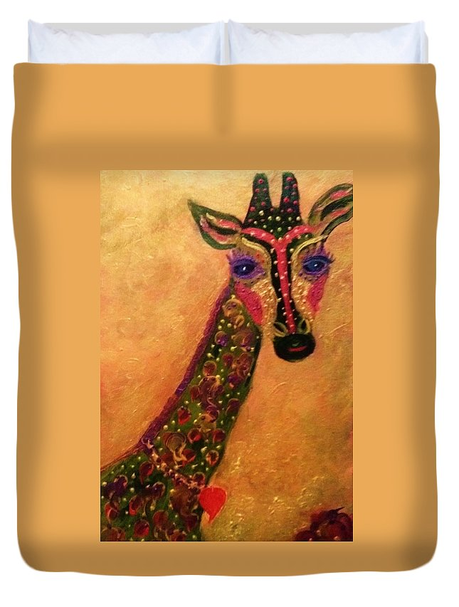 Giraffe Duvet Cover featuring the painting Missy Savannah by Linda Lavid
