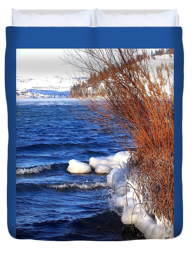 Kalamalka Duvet Cover featuring the photograph Mist On Kalamalka by Will Borden