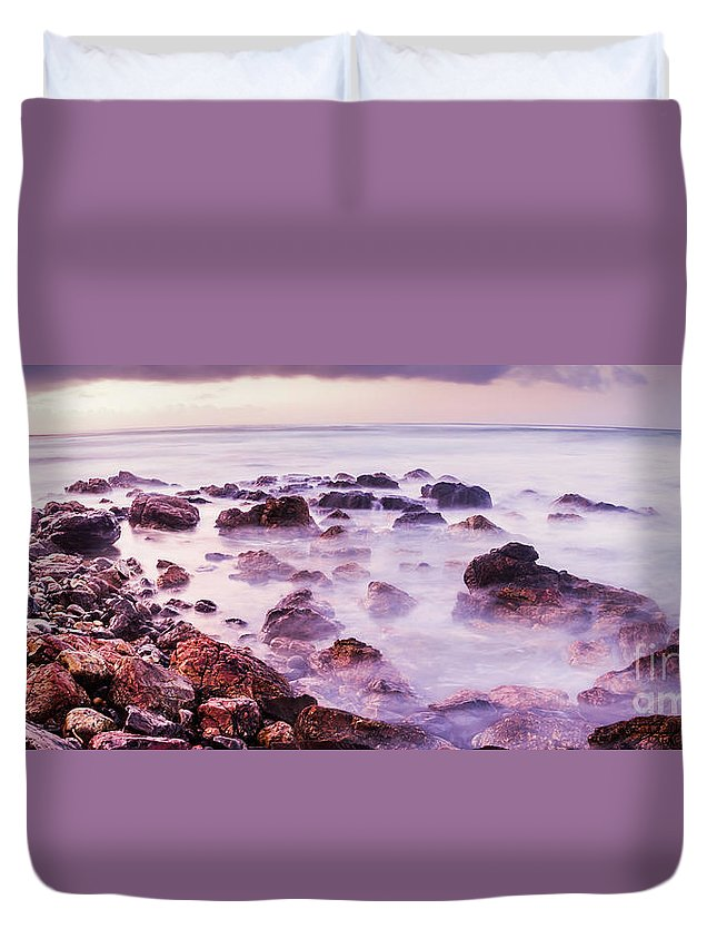 Coastline Duvet Cover featuring the photograph Misty Bay by Jorgo Photography - Wall Art Gallery
