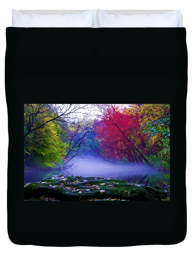 Mist Duvet Cover featuring the photograph Misty Creek by Bill Cannon