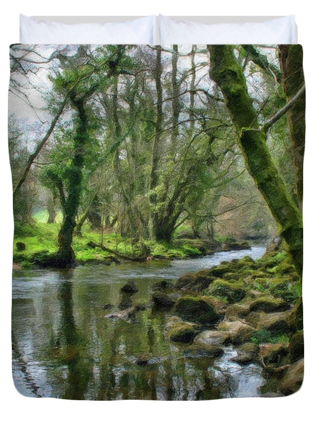 Dean Wittle Duvet Cover featuring the painting Misty Day On River Teign - P4a16017 by Dean Wittle