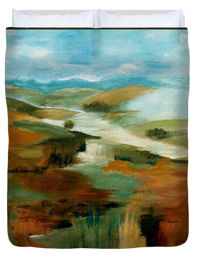Abstract Duvet Cover featuring the painting Misty Hills by Ruth Palmer