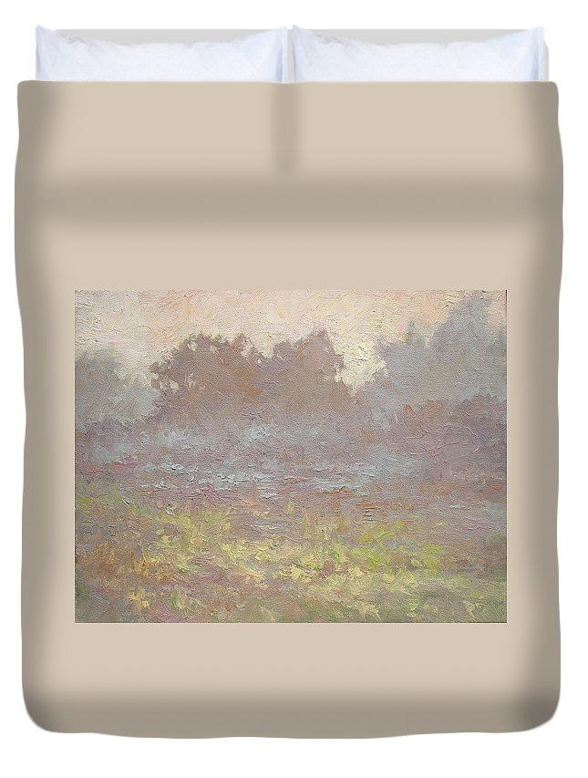 Landscape Abstract Field Morning Fog Mist Trees Farm Sunrise Duvet Cover featuring the painting Misty Meadow by Stephen Howell