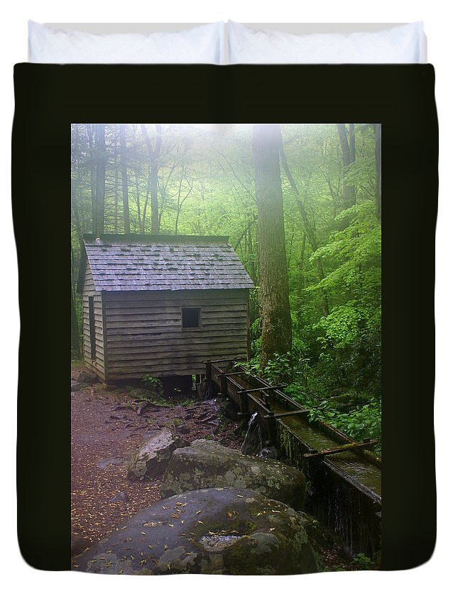 Smokey Mountain National Park Duvet Cover featuring the photograph Misty Mill by Marty Koch