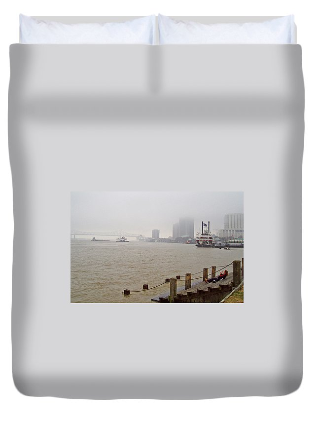 New Orleans Duvet Cover featuring the photograph Misty Morning Blues by Darin Hintz