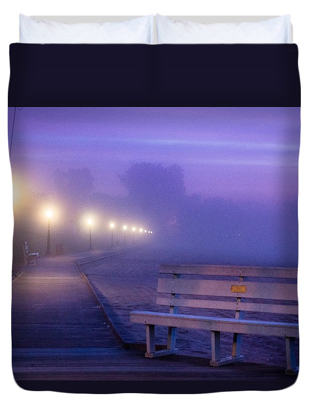 Algoma Duvet Cover featuring the photograph Misty Morning Boardwalk by Bill Pevlor