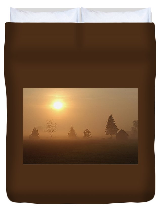Fog Duvet Cover featuring the photograph Misty Morning by Greg Taylor