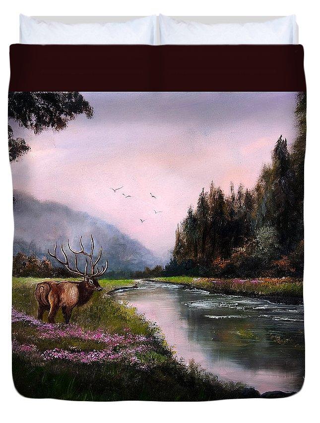 Jan Holman Art Paintings 2010 Elk Duvet Cover featuring the painting Misty Morning by Jan Holman