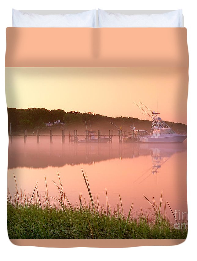 Mist Duvet Cover featuring the photograph Misty Morning Osterville Cape Cod by Matt Suess