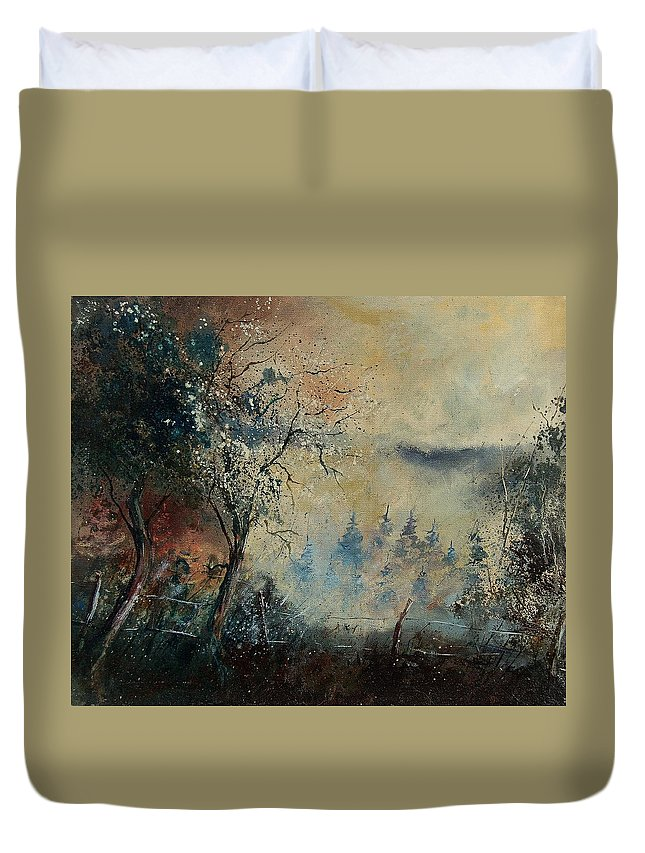Tree Duvet Cover featuring the painting Misty Morning by Pol Ledent