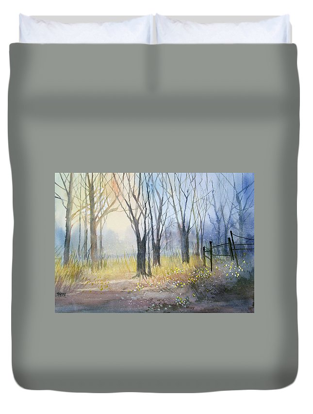 Watercolor Duvet Cover featuring the painting Misty Morning by Ryan Radke