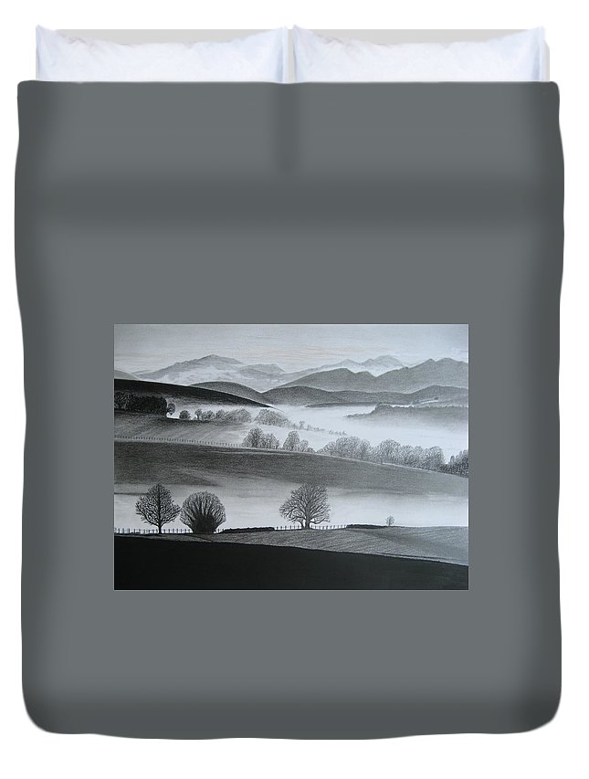 Landscapes Duvet Cover featuring the drawing Misty Morning by Stephen W Keller