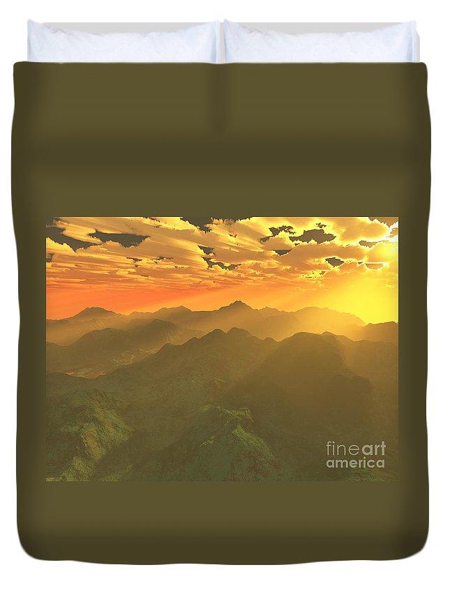 Computer Art Duvet Cover featuring the digital art Misty Mornings In Neverland by Gaspar Avila