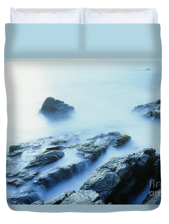 Abstract Duvet Cover featuring the photograph Misty Ocean by Larry Dale Gordon - Printscapes